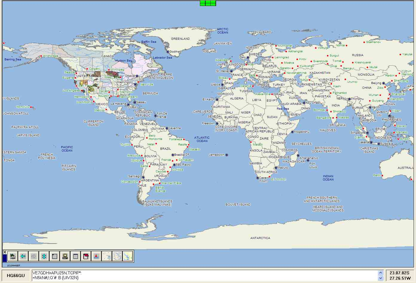 PMapServer7 beta running in UI-View32 - Map of the World. Click picture to go back.